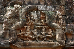 Elegant relief in ankorwat Royalty Free Stock Photo