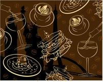 Elegant Restaurant en Fijn het Dineren Vectorbehang Royalty-vrije Stock Afbeelding
