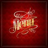 Elegant restaurant menu design with golden headline against damask backdrop Stock Photo