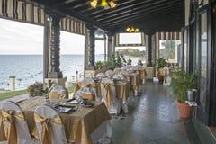 Elegant restaurant by the ocean Stock Image