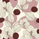 Elegant retro seamless pattern background. With flowers and leaves Royalty Free Stock Images