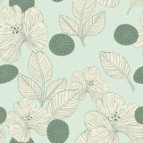 Elegant retro seamless pattern background. With flowers and leaves Stock Photo