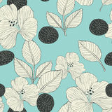 Elegant retro seamless pattern background. With flowers and leaves Stock Photography