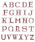 Elegant retro style red font set. Elegant retro style red font vector set Stock Image