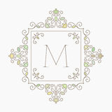 Elegant Retro Varicolored Floral Square Frame. Royalty Free Stock Photos