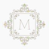 Elegant retro varicolored floral square frame. Royalty Free Stock Photos