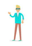 Elegant Rich Blond Man in Sunglasses. Vector Stock Photo