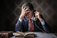 Elegant rich businessman phoning royalty free stock photo