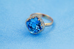 Elegant ring, blue topaz Stock Image