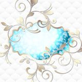 Elegant rococo emblem in vibrant blue on white Stock Images