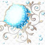 Elegant rococo emblem in vibrant blue on white Stock Photo