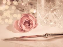 Elegant and romantic dinner setting Stock Images