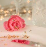 Elegant and romantic dinner setting with rose Royalty Free Stock Image