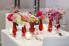 Elegant and romantic table set decoration for wedding or event p Stock Image