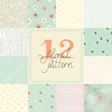 12 Elegant romantic vector seamless patterns (tiling) Stock Photo