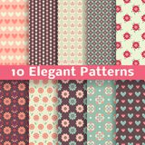Elegant romantic vector seamless patterns. 10 Elegant romantic vector seamless patterns (tiling). Retro pink, brown and blue colors. Endless texture can be used Royalty Free Stock Photos