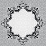 Elegant rond decoratief grijs etiket Stock Foto