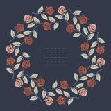 Elegant rond kader met rode en roze die rozen op blauwe bac worden geïsoleerd royalty-vrije illustratie
