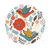 Elegant round composition with birds and flowers Stock Photo
