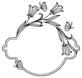 Elegant round frame with bluebells and butterfly. Raster clip art Stock Images