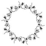 Elegant round frame with butterflies. Stock Photos