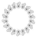 Elegant round frame with contours of flowers.  Raster clip art. Elegant round frame with contours of flowers. Copy space. Raster clip art Royalty Free Stock Photography