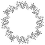 Elegant round frame with contours of flowers.  Raster clip art. Royalty Free Stock Image