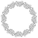 Elegant round frame with contours of flowers.  Raster clip art. Royalty Free Stock Photos