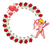 Elegant round frame with Cupid, red roses and hearts. Raster cli Stock Photos