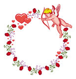 Elegant round frame with Cupid, red roses and hearts. Raster clip art. Stock Images