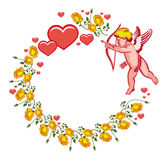 Elegant round frame with Cupid, yellow roses and hearts. Raster clip art. Stock Photography