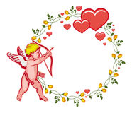 Elegant round frame with Cupid, yellow roses and hearts. Raster clip art. Royalty Free Stock Image