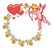 Elegant round frame with Cupid, yellow roses and hearts. Raster clip art. Royalty Free Stock Images