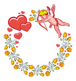 Elegant round frame with Cupid, yellow roses and hearts. Raster clip art. Royalty Free Stock Photos