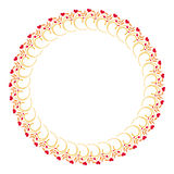 Elegant round frame with red hearts Stock Image