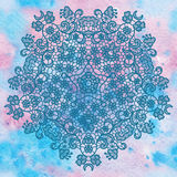 Elegant round lacy doily on watercolor background. Royalty Free Stock Images