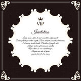 Elegant round postcard for VIP invitations. With leafy elements of Victorian style. Colors are brown with white. Stock Image