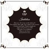 Elegant round postcard for VIP invitations. With leafy elements of Victorian style. Colors are brown with white. Royalty Free Stock Photos