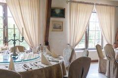 Elegant round tables Royalty Free Stock Photos