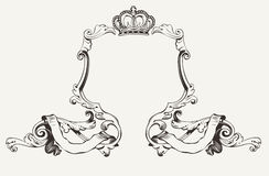 Elegant Royal Frame With Crown.  Stock Photo