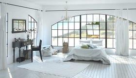 Elegant ruim wit slaapkamerbinnenland royalty-vrije stock foto
