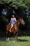 Elegant ruiter bloot het berijden paard Stock Foto's