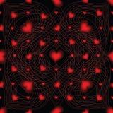 Elegant sömlös modell med hjärtor, linjer på svart bakgrund Arkivfoto