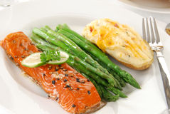 Elegant Salmon Dinner Stock Image