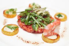 Elegant salmon tartare Stock Images