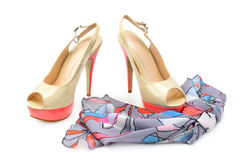 Elegant sandals and scarf Stock Photography