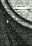 Elegant satin poster for celebrations in gray beige colors. Classic elegant satin poster for celebrationson patterned gray beige colors background Stock Photos
