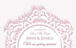 Elegant save the date paper style card with lace decoration, vin. Tage wedding invitation or announcement template in pink colors Royalty Free Stock Photos
