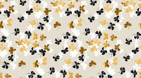 Elegant scattered gold and black butterfly background. For fabric, wrapping paper, package. Simple luxury seamless pattern. Vector illustration for surface Royalty Free Stock Photos