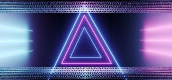 Elegant Sci Fi Modern Futuristic Stage Metal Construction Pipes. With Neon Glowing Purple And Blue Gradient Vibrant Light Tubes Triangle Shape Background 3D stock illustration